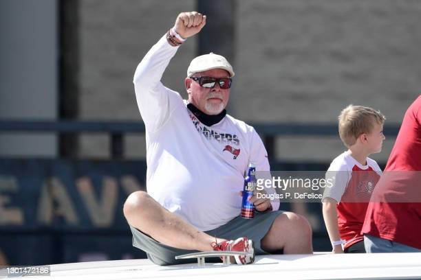 Head coach Bruce Arians of the Tampa Bay Buccaneers reacts during the Tampa Bay Buccaneers Victory Boat Parade on February 10, 2021 in Tampa, Florida.