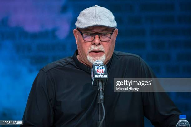 Head coach Bruce Arians of the Tampa Bay Buccaneers speaks to the media at the Indiana Convention Center on February 25 2020 in Indianapolis Indiana...