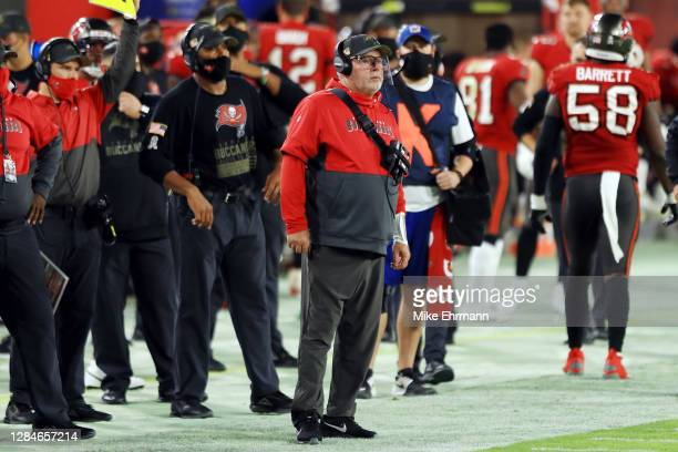 Head coach Bruce Arians of the Tampa Bay Buccaneers stands on the sideline during the second half against the New Orleans Saints at Raymond James...