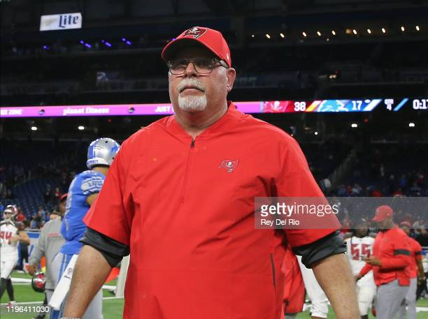 Head coach Bruce Arians of the Tampa Bay Buccaneers walks off the field after a game against the Detroit Lions at Ford Field on December 15 2019 in...