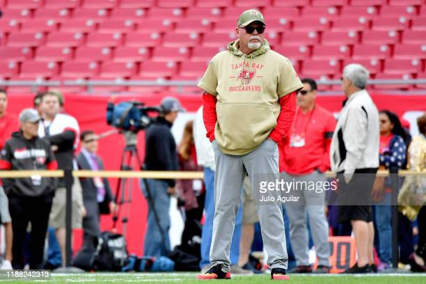 Head coach Bruce Arians of the Tampa Bay Buccaneers watches as his team warms up for their game against the New Orleans Saints at Raymond James...