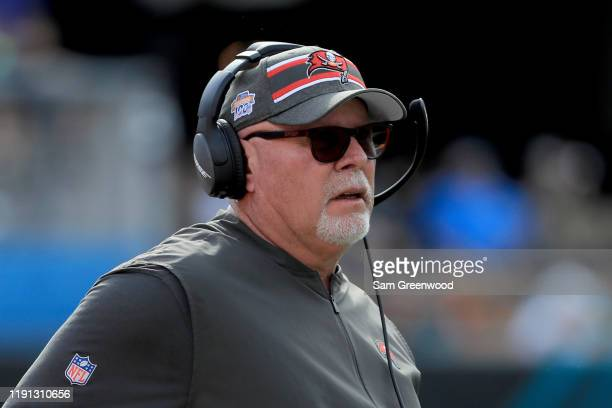Head coach Bruce Arians of the Tampa Bay Buccaneers watches the action during the game against the Jacksonville Jaguars at TIAA Bank Field on...