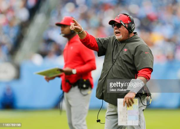 Head coach Bruce Arians of the Tampa Bay Buccaneers yells to his players during the first quarter of the game against the Tennessee Titans at Nissan...