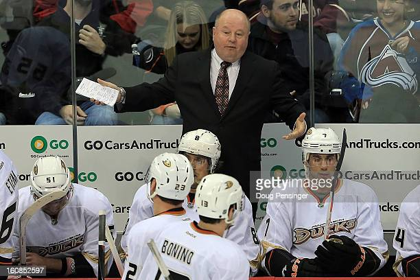 Head coach Bruce Boudreau leads the Anaheim Ducks to a 30 victory over the Colorado Avalanche at the Pepsi Center on February 6 2013 in Denver...