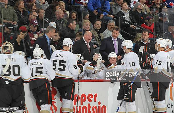 Head Coach Bruce Boudreau of the Anaheim Ducks talks to his team during a time out against the Colorado Avalanche at the Pepsi Center on February 6...