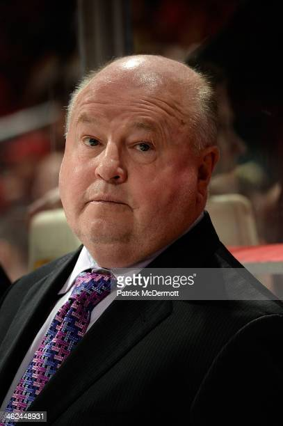 Head coach Bruce Boudreau of the Anaheim Ducks waits for the start of the third period during an NHL game against the Washington Capitals at Verizon...