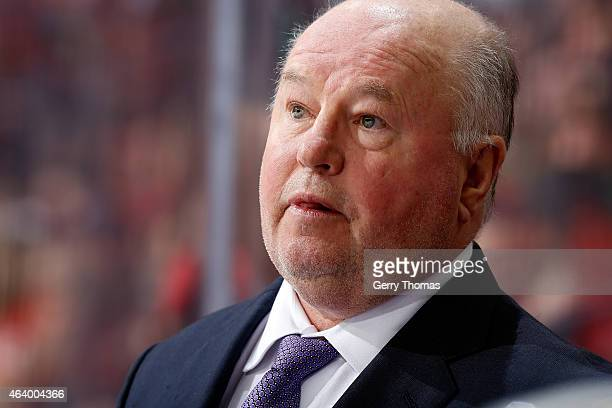 Head coach Bruce Boudreau of the Anaheim Ducks watches the game against the Calgary Flames at Scotiabank Saddledome on February 20 2015 in Calgary...