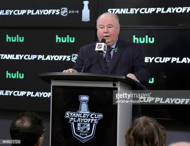 Head Coach Bruce Boudreau of the Minnesota Wild answers questions during the postgame press conference following a 32 loss against the Winnipeg Jets...