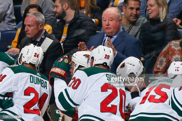 Head coach Bruce Boudreau of the Minnesota Wild coaches during the third period of a 42 Predators victory at Bridgestone Arena on October 15 2018 in...