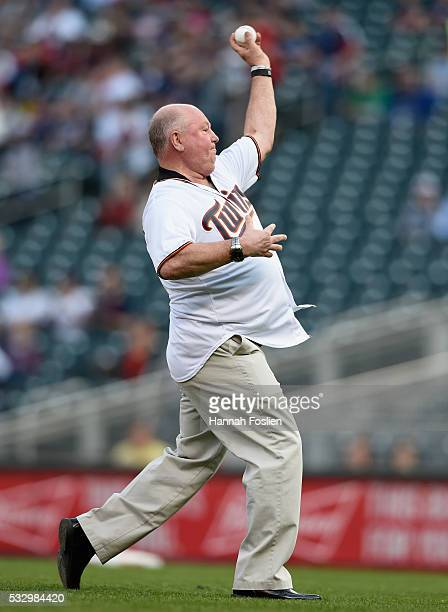 Head coach Bruce Boudreau of the Minnesota Wild delivers a ceremonial pitch before the game between the Minnesota Twins and the Toronto Blue Jays on...