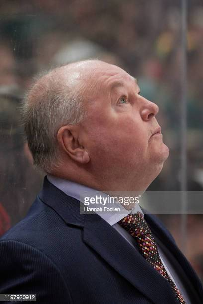 Head coach Bruce Boudreau of the Minnesota Wild looks on during the game against the Calgary Flames at Xcel Energy Center on January 5 2020 in St...