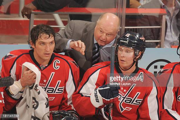 Head coach Bruce Boudreau of the Washington Capitals talks to Alex Ovechkin and Nicklas Backstrom during a NHL hockey game against the Anaheim Ducks...
