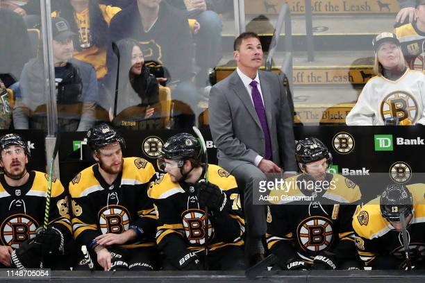Head coach Bruce Cassidy looks on in Game Two of the Eastern Conference Final against the Carolina Hurricanes during the 2019 NHL Stanley Cup...