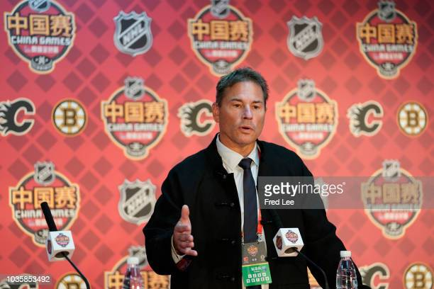 Head Coach Bruce Cassidy of Boston Bruins attends pregame press conference during 2018 ORG NHL China Games Boston Bruins and Calgary Flames on...