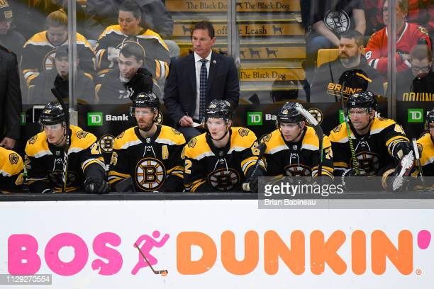 Head Coach Bruce Cassidy of the Boston Bruins behind the bench during the game against the Chicago Blackhawks at the TD Garden on February 12 2019 in...