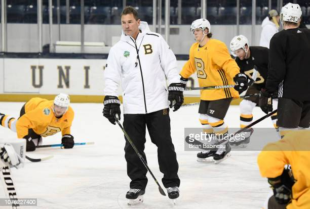Head coach Bruce Cassidy of the Boston Bruins holds a practice session at Notre Dame Compton Family Ice Arena on December 31 2018 in South Bend...