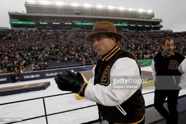 Head coach Bruce Cassidy of the Boston Bruins leaves the rink after beating the Chicago Blackhawks 43 in the 2019 Bridgestone NHL Winter Classic at...