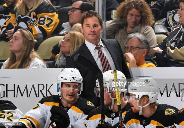 Head coach Bruce Cassidy of the Boston Bruins looks on against the Pittsburgh Penguins at PPG Paints Arena on March 10 2019 in Pittsburgh Pennsylvania