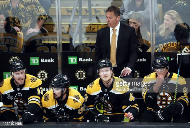 Head coach Bruce Cassidy of the Boston Bruins looks on against the St Louis Blues during the first period in Game One of the 2019 NHL Stanley Cup...