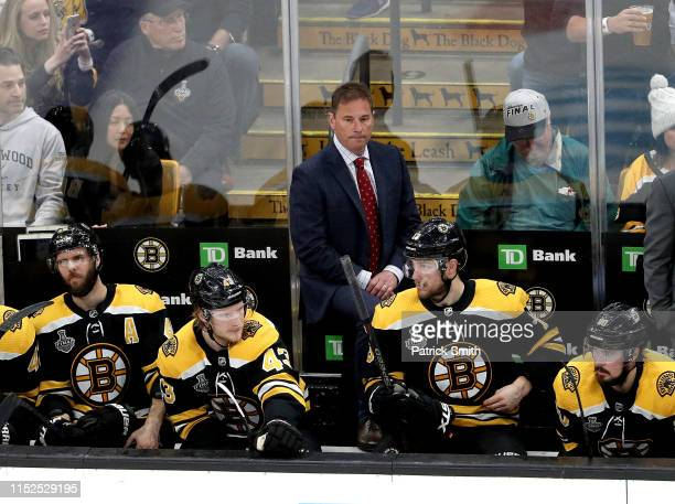 Head coach Bruce Cassidy of the Boston Bruins looks on against the St Louis Blues during the second period in Game Two of the 2019 NHL Stanley Cup...