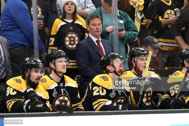 Head coach Bruce Cassidy of the Boston Bruins looks on against the St Louis Blues during the first period in Game Two of the 2019 NHL Stanley Cup...