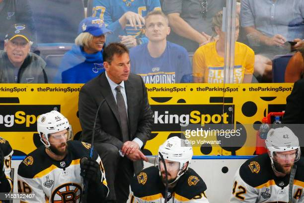 Head coach Bruce Cassidy of the Boston Bruins looks on against the St Louis Blues during the first period in Game Three of the 2019 NHL Stanley Cup...