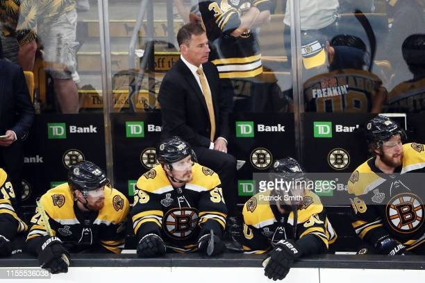 Head coach Bruce Cassidy of the Boston Bruins looks on against the St Louis Blues during the first period in Game Seven of the 2019 NHL Stanley Cup...