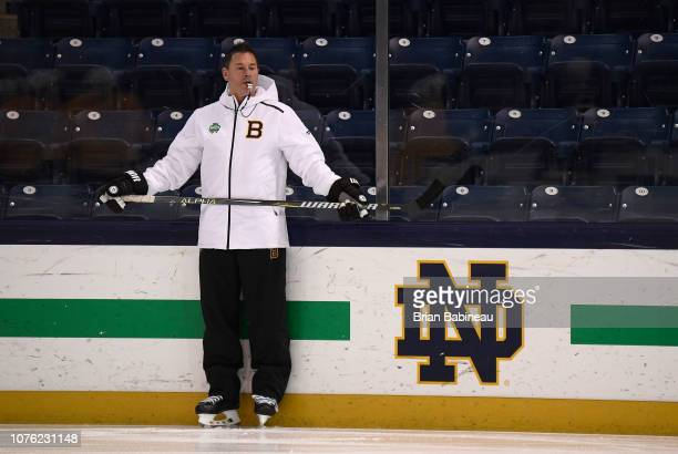Head coach Bruce Cassidy of the Boston Bruins looks on during a practice session at Notre Dame Compton Family Ice Arena on December 31 2018 in South...
