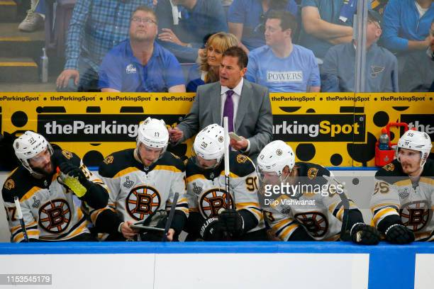 Head Coach Bruce Cassidy of the Boston Bruins looks on from the bench during the game against the St Louis Blues in Game Four of the 2019 NHL Stanley...