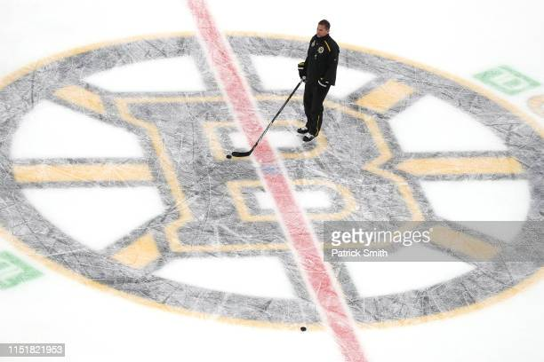 Head coach Bruce Cassidy of the Boston Bruins practices during Media Day ahead of the 2019 NHL Stanley Cup Final at TD Garden on May 26 2019 in...