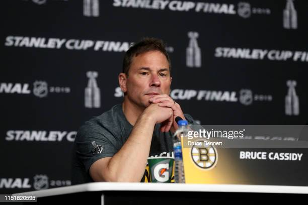 Head coach Bruce Cassidy of the Boston Bruins speak during Media Day ahead of the 2019 NHL Stanley Cup Final at TD Garden on May 26 2019 in Boston...