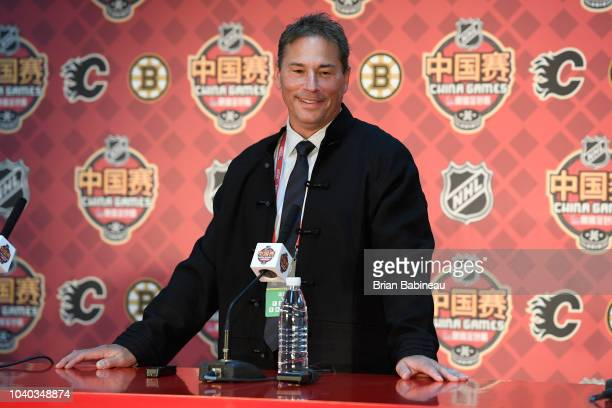 Head coach Bruce Cassidy of the Boston Bruins speaks to the media before the game at the Cadillac Arena on September 19 2018 in Beijing China
