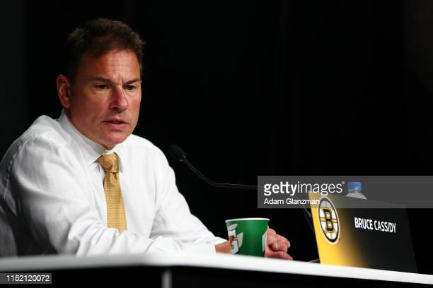 Head coach Bruce Cassidy of the Boston Bruins speaks to the media following his teams 42 win over the St Louis Blues in Game One of the 2019 NHL...