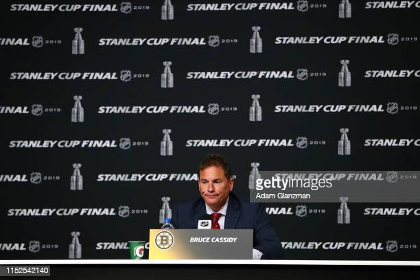 Head coach Bruce Cassidy of the Boston Bruins speaks to the media following his teams 32 overtime loss to the St Louis Blues in Game Two of the 2019...