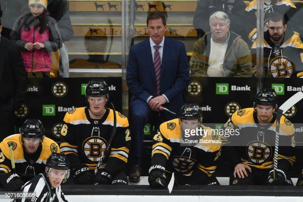Head coach Bruce Cassidy of the Boston Bruins watches the third period against the Pittsburgh Penguins at the TD Garden on November 23 2018 in Boston...