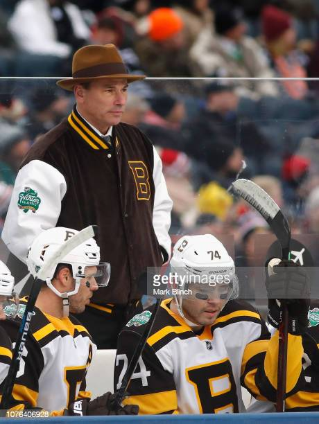 Head coach Bruce Cassidy watches his team during the first period of the 2019 Bridgestone NHL Winter Classic game against the Chicago Blackhawks at...