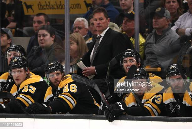 Head coach Bruce Cassidy watches his team play against the St Louis Blues during the second period of Game Five of the 2019 NHL Stanley Cup Final at...