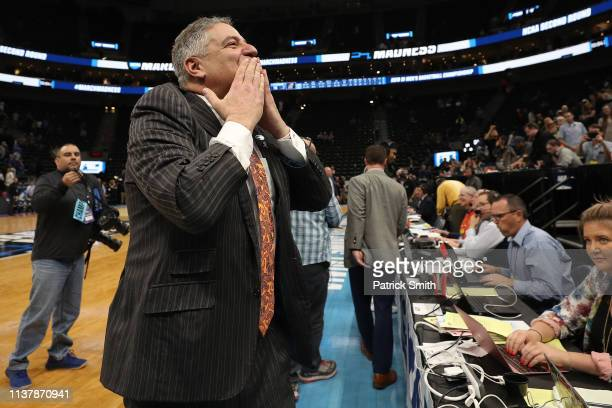 Head coach Bruce Pearl of the Auburn Tigers reacts after defeating the Kansas Jayhawks 8975 in the Second Round of the NCAA Basketball Tournament at...