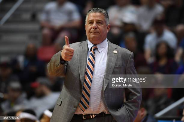 Head coach Bruce Pearl of the Auburn Tigers reacts as they take on the Clemson Tigers in the first half during the second round of the 2018 NCAA...