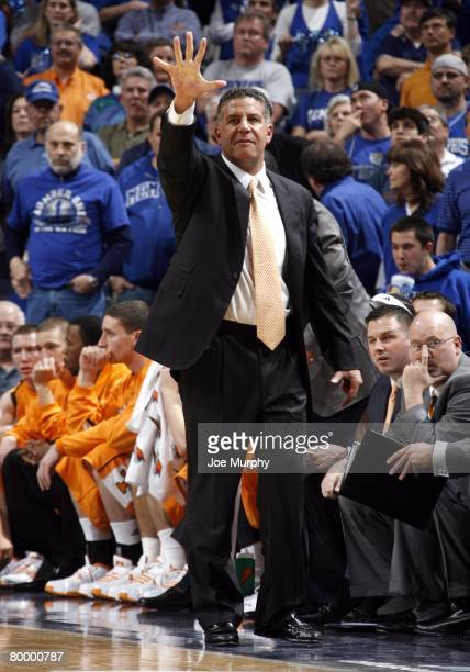 Head coach Bruce Pearl of the Tennessee Volunteers calls out a play to his team in a game against the Memphis Tigers at FedExForum on February 23,...