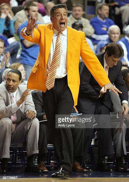 Head coach Bruce Pearl of the Tennessee Volunteers gives instructions to his team during SEC action against the Kentucky Wildcats February 7, 2006 at...