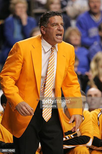 Head coach Bruce Pearl of the Tennessee Volunteers looks on against the Kentucky Wildcats at Rupp Arena on February 7, 2006 in Lexington, Kentucky....
