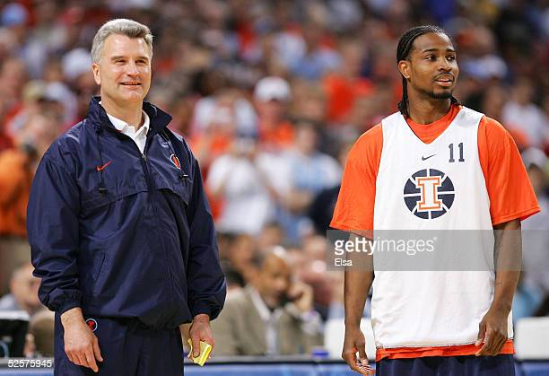 Head coach Bruce Weber and player Dee Brown of the Illinois Fighting Illini look on during practice for the NCAA Final Four on April 1 2005 at the...