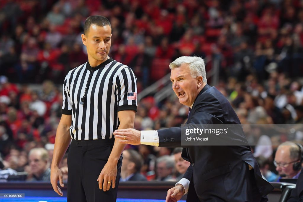 Head coach Bruce Weber of the Kansas State Wildcats argues an officials calls during the game against the Texas Tech Red Raiders on January 6, 2018 at United Supermarket Arena in Lubbock, Texas. Texas Tech won the game 74-58.