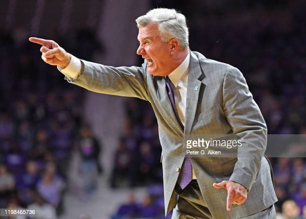 Head coach Bruce Weber of the Kansas State Wildcats calls out instructions during the first half against the Baylor Bears at Bramlage Coliseum on...