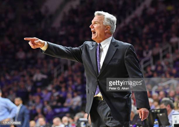 Head coach Bruce Weber of the Kansas State Wildcats calls out instructions during the first half against the Iowa State Cyclones at Bramlage Coliseum...