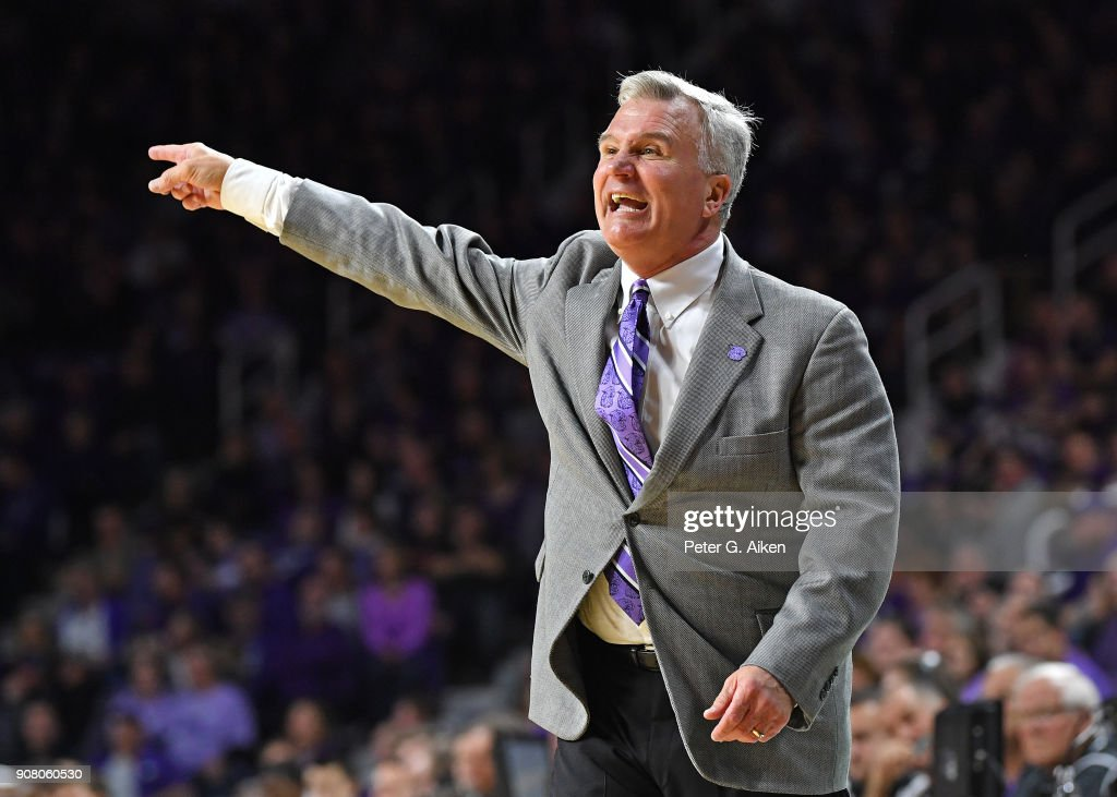 Head coach Bruce Weber of the Kansas State Wildcats calls out instructions during the first half against the TCU Horned Frogs on January 20, 2018 at Bramlage Coliseum in Manhattan, Kansas.