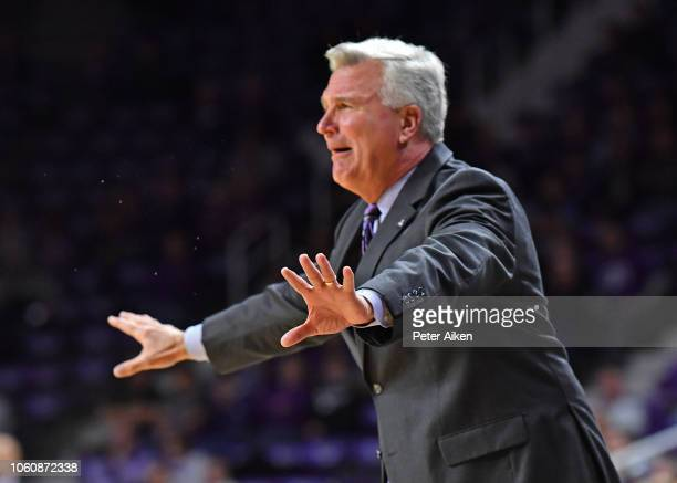 Head coach Bruce Weber of the Kansas State Wildcats calls out instructions against the Denver Pioneers during the first half on November 12 2018 at...