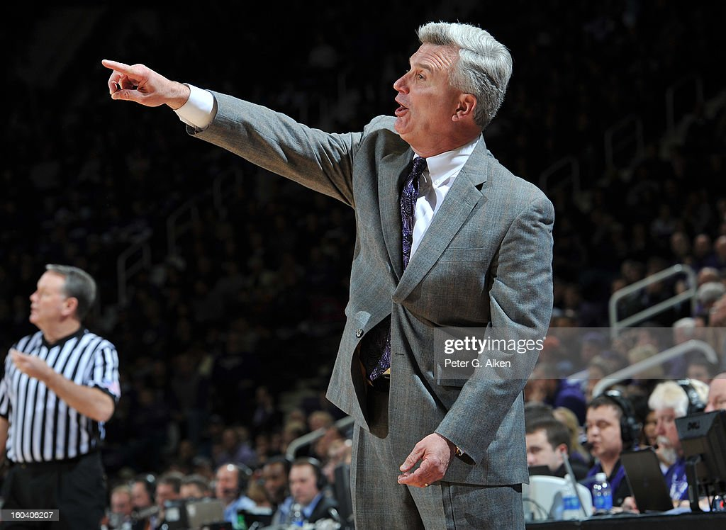 Head coach Bruce Weber of the Kansas State Wildcats calls out instructions against the Texas Longhorns during the first half on January 30, 2013 at Bramlage Coliseum in Manhattan, Kansas. Kansas State defeated Texas 83-57.
