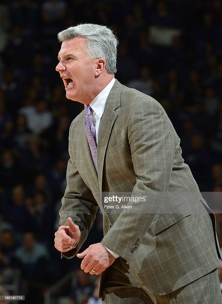 Head coach Bruce Weber of the Kansas State Wildcats calls out instructions against the Texas Christian Horned Frogs during the second half on March 5, 2013 at Bramlage Coliseum in Manhattan, Kansas. Kansas State defeated Texas Christian 79-68.